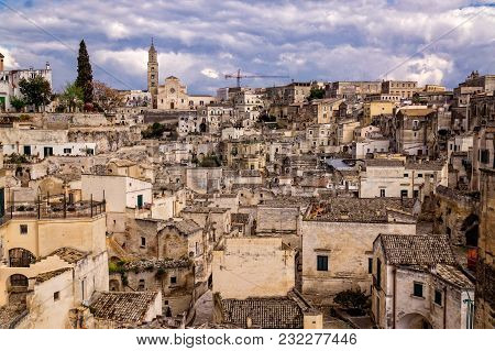 The Splendid Architecture Of Historical Matera Town In Southern Italy With Stone Houses And Caves