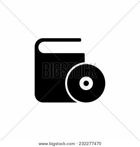 Cd Dvd Box. Flat Vector Icon. Simple Black Symbol On White Background