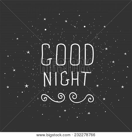 Black And White Doodle Typography Poster With Moon And Stars. Cartoon Cute Card With Lettering - Goo