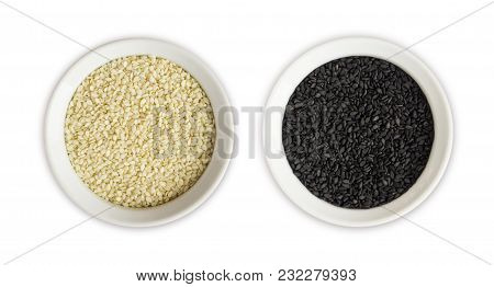 Black And White Sesame On White Background. Top View. Black And White Sesame In A Bowl Isolated On W