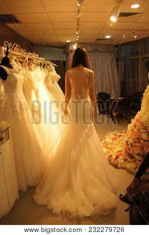 Taken On 18th March,2017 At A Wedding Gown Shop Featuring A Bride To Be Trying On A Wedding Gown