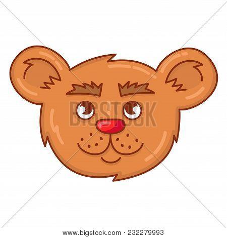 Bear Cartoon Head Face Doodle Colorful Portrait Vector Illustration Animal Character
