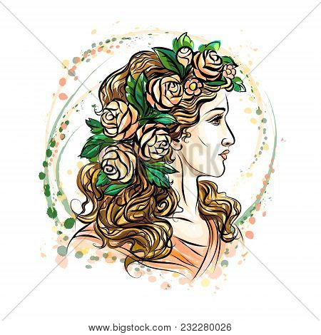 Hand Drawn Face Of A Beautiful Woman In A Flower Wreath. Cute Girl With Long Hair. Sketch. Photo Ill
