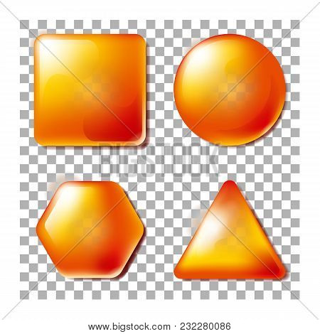 3d Opacity Square, Circle, Hexagon, Triangle. Buttons For Website Or App