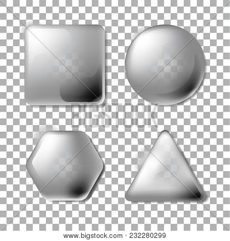3d Opacity Square, Circle, Hexagon, Triangle. Set Of Blank And Transparency Gray Buttons For Website