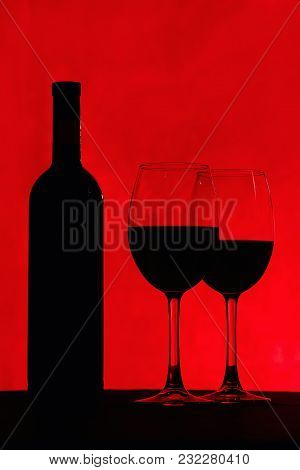 Bottle Of Wine And Glass With Red Wine, On Red Background