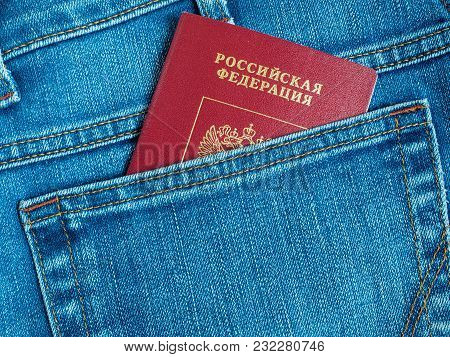 Foreign Russian Passport In The Back Pocket Of Jeans
