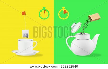 Comparison Of Brewing Time Between Tea Leaves And Tea Bag. Cup On Saucer And Teapot On Yellow And Gr