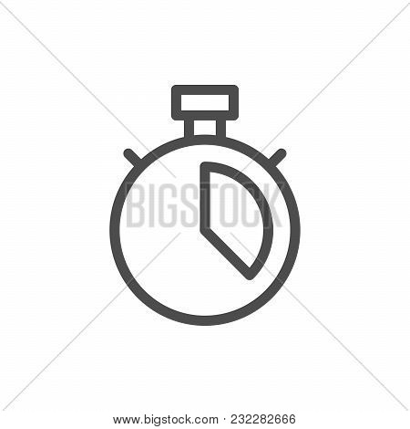 Stopwatch Line Icon Isolated On White. Vector Illustration