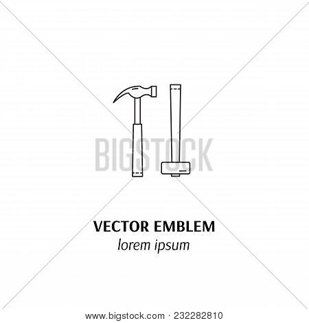 Vector House Repairs Symbol In Trendy Line Style Isolated On White Background. Hammers . Icon In Lin