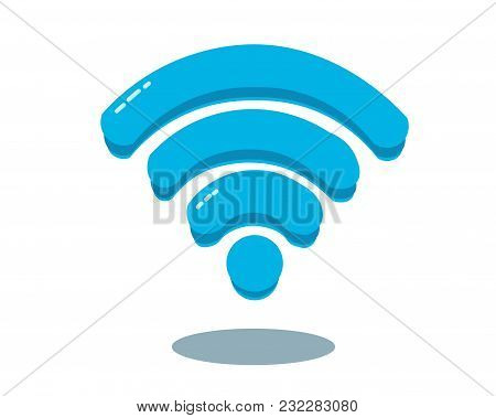 Blue Sign Of Wi-fi. Vector Illustration. Isolated On A White Background.