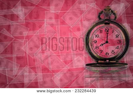 Antique Clock On The Dollar Flying Background. The Concept Of Time And Business.