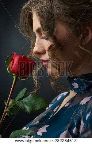 Studio Sideview Of A Young Beatiful Girl Holding Red Rose Near Her Face. Model Having Brown Curly Ha