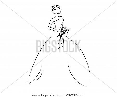 Girl One Line. Sketch Of The Girl, Bride, Princess. Looking At Sideways. Vector Illustration. Isolat