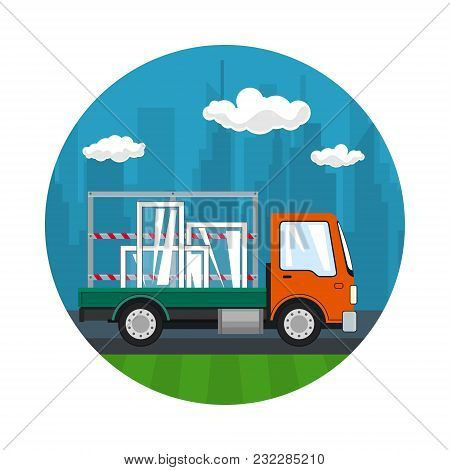 Icon Of Small Truck Transports Windows, Transportation And Cargo Delivery Services, Logistics, Shipp