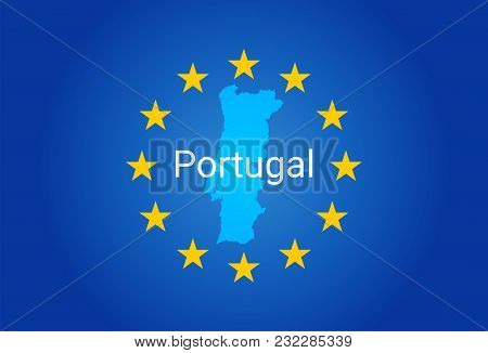 Eu - European Union Flag And Map Of Portugal. Vector Illustration