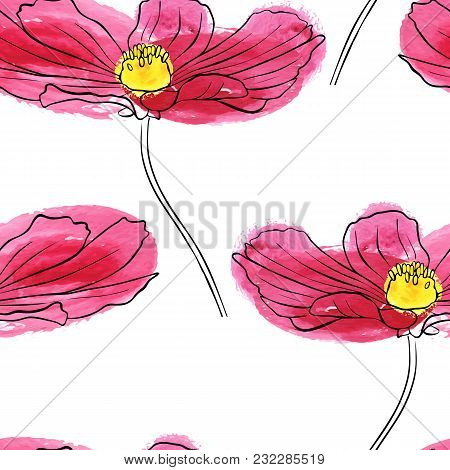 Vector Seamless Pattern With Drawing Pink Daisy Flower, Floral Element, Hand Drawn Botanical Illustr
