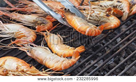 Shrimp Bbq Grill Food Menu On Grille Charcoal Strove Macro Photo Focus At Foreground Of Left, And Ri