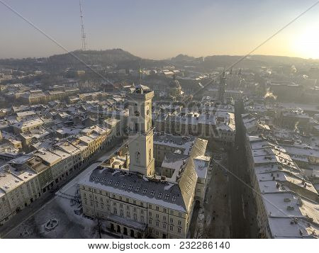 Day Aerial Shot Of Central Part Of Lviv City