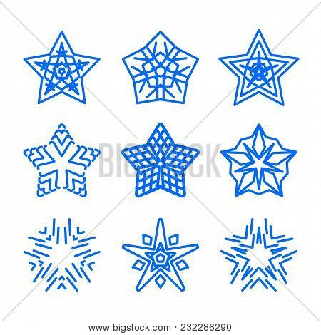 Star Logo Template Set. Vector Blue Geometric Ornamental Symbols Isolated. Blue Decorative And Creat