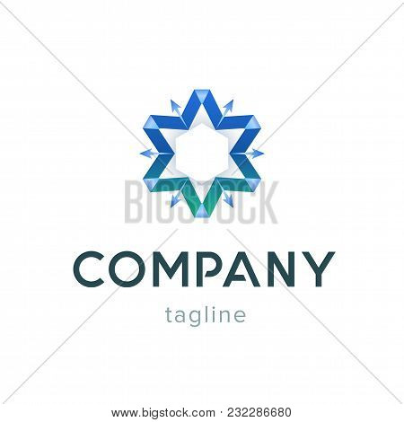 Star Company Logo Template. Modern Blue Symbol For Business Corporate. Design Web Creative Sign Isol