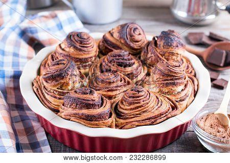 Homemade Yeast Rolls Or Buns. Fresh Sweet Homemade Cinnamon Rolls