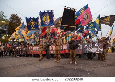 Kiev, Ukraine - October 14, 2017: Nationalist Parties And Movements During The March On The Annivers