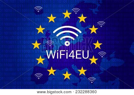 Wifi4eu - Free Wi-fi Hotspots In The European Union. Eu Flag And Map. Vector Illustration
