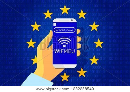 Wifi4eu - Free Wi-fi Hotspots In The European Union. Eu Flag. Vector Illustration