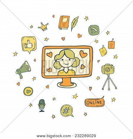 Doodle Vector Illustration With Bloger In Monitor And Blogging Elements Around. Speech Bubbles, Hear