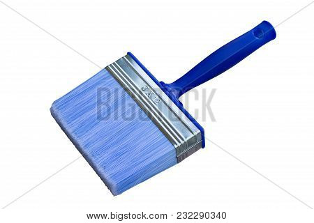Isolated Large Paint Brush With Nylon Bristles Against A White Background. Used For Acrylic Paint Fo