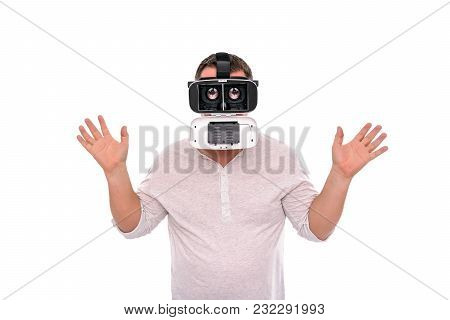 Funny Man In Glasses Virtual Reality, With The Disassembled Structure And Increased Eyes.