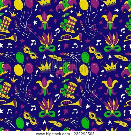 Mardi Gras Seamless Pattern With Balloon, Carnival Mask, Confetti, Trumpet, Crown, Ribbon, Feathers,