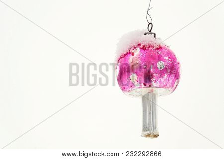 Fly Agaric Christmas Tree Vintage Glass Decoration, Falling Snow Landscape