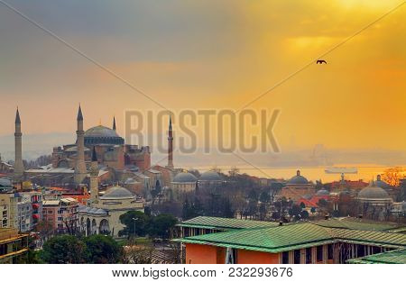Istanbul, Turkey - March 26, 2012: Dawn Over The Cathedral Of Hagia Sophia.