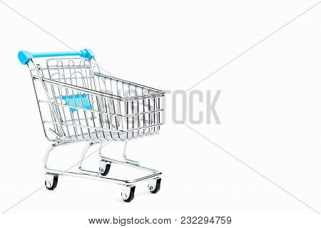 Shopping Cart Isolated On White Background With Copy Space For Text