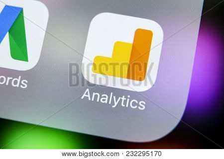 Sankt-petersburg, Russia, March 21, 2018: Google Analytics Application Icon On Apple Iphone X Screen
