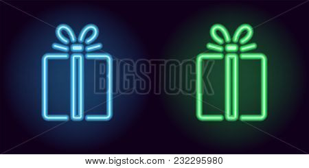 Blue And Green Neon Gift Box. Vector Silhouette Of Neon Holiday Gift Consisting Of Outlines, With Ba