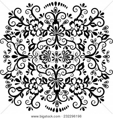 Abstract Floral Pattern, Vector Wicker Ornament. Black Ornate Tracery In Eastern Style With A Lot Of
