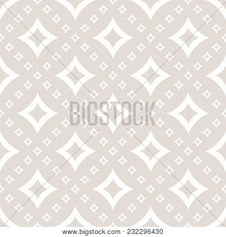 Vector Geometric Pattern With Diamond Shapes, Big And Small Outline Rhombuses, Stars, Curved Squares