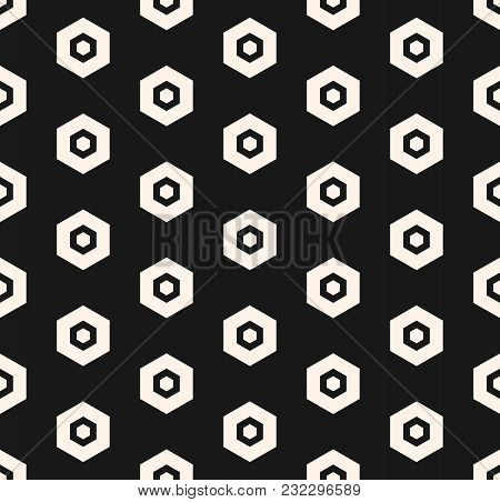 Simple Vector Hexagon Pattern. Abstract Geometric Minimalist Hexagonal Seamless Texture With Perfora
