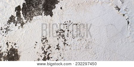 Old Cracked Rought Dark And White Plaster Wall Texture Banner Background.