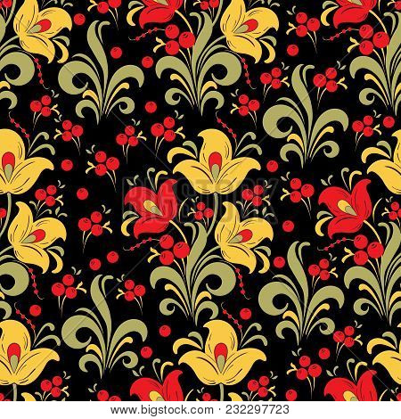 Abstract Stylized Flower Seamless Pattern, Vector Background. Red, Yellow, Green Decorative Flower,