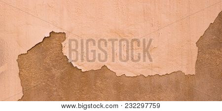 Old Damaged Painted Beigee Brown Wall Banner Background Texture