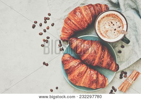 Breakfast, Croissants With Coffee On A Grey Background, Toned. The View From The Top,place For Your