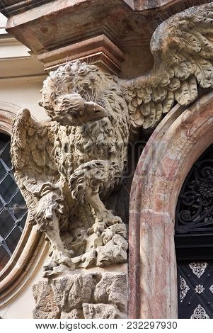 The Figure Of An Eagle On The Facade Of A Building