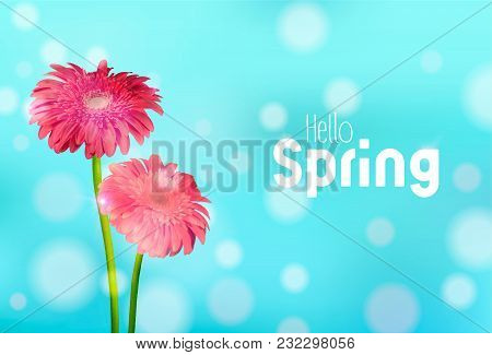 Hello Spring Greeting Card Illustration With Pink Daisy Flowers And Blue Sky Background. Eps10 Vecto