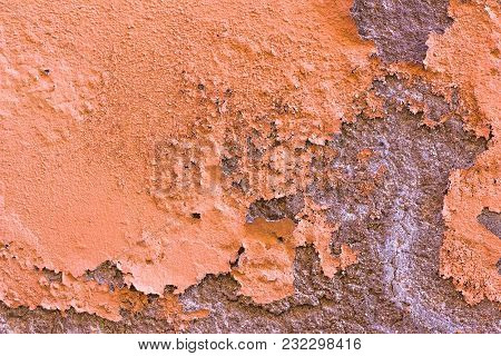 Old Damaged Painted Orange Brown Wall Background Texture.