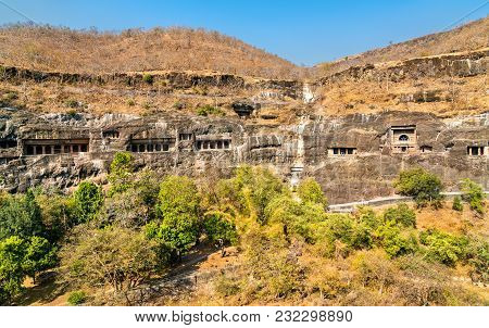 Panoramic View Of The Ajanta Caves. A Unesco World Heritage Site In Maharashtra, India