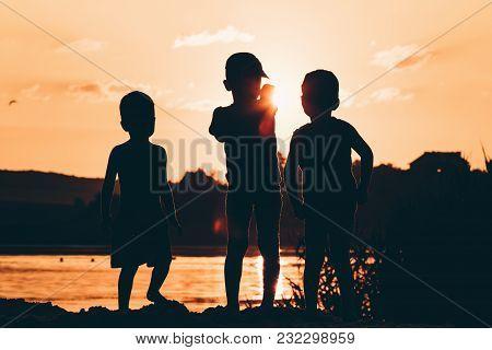 Silhouette Child Fishing On Lake Leisure Life People.